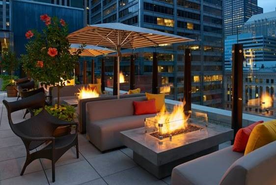 Rleaxing fire pits at Aire over the new Hyatt Centric